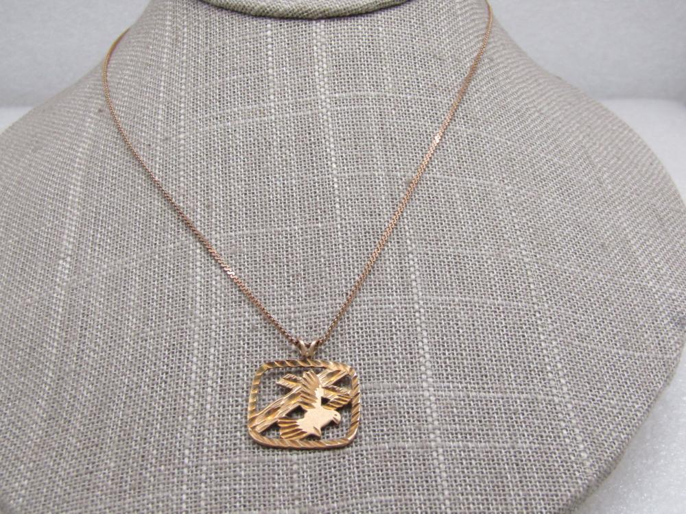 "Vintage 14kt Cross & Dove Diamond Cut Necklace, 16"", Signed"