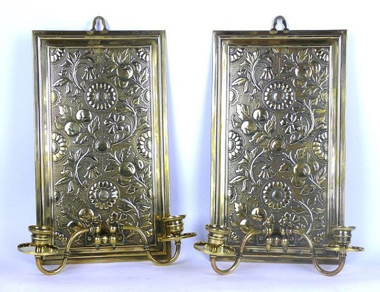 A pair of arts crafts brass candle sconces havi for Arts and crafts candle sconces
