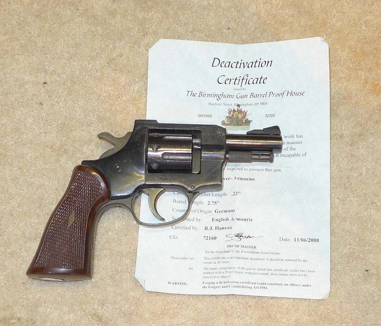 A deactivated Arminius  22 calibre revolver,