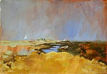 Katie Sowter (British, 1944-2003) - 'Sail beyond the dunes', oil on canvas, initialled, inscribed ve