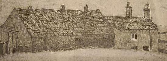 John Virtue (b.1947) - 'Old Farm behind Coppice