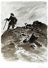Sir Kyffin Williams RA KBE (Welsh, 1918-2006) - 'Farmer and sheepdog' Penci