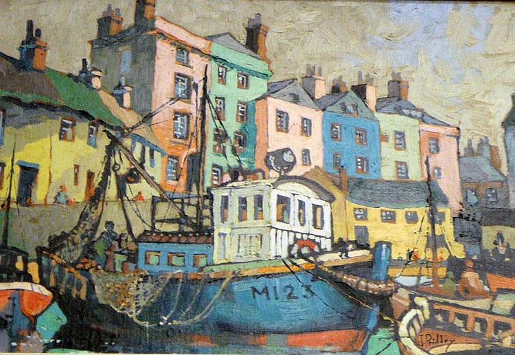 J Priddey (20th century); Mousehole Harbour, oil