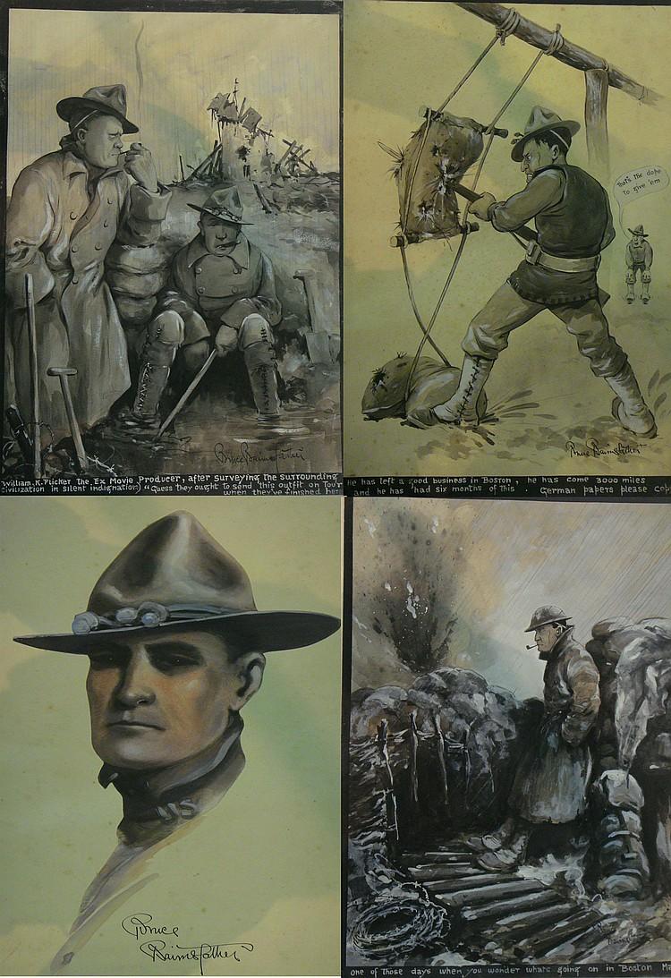 Bruce Bairnsfather (1888-1959) - four watercolour