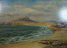 John Brett (1831-1902) - 'Coastal Landscape' Oil on board, signed, inscribe