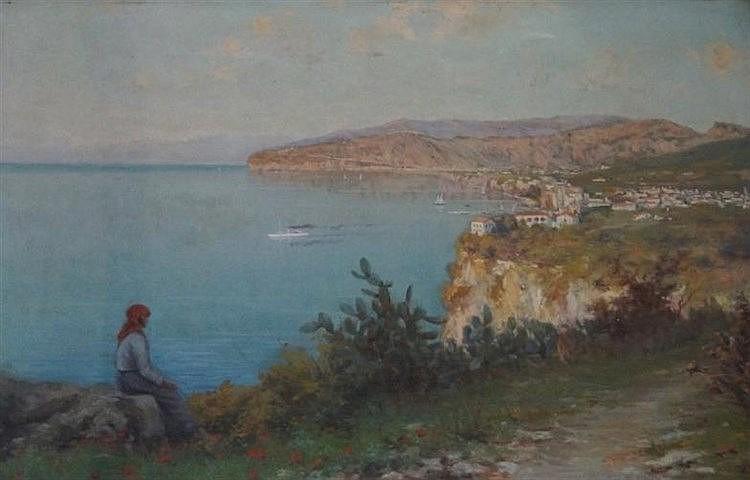 Giuseppe Chiarolanza (Italian, 1864-1920) - 'Italian Coastal Landscape with
