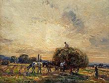 Herbert Royle (British, 1870-1958)- 'The haycart' Oil on panel, signed, bea