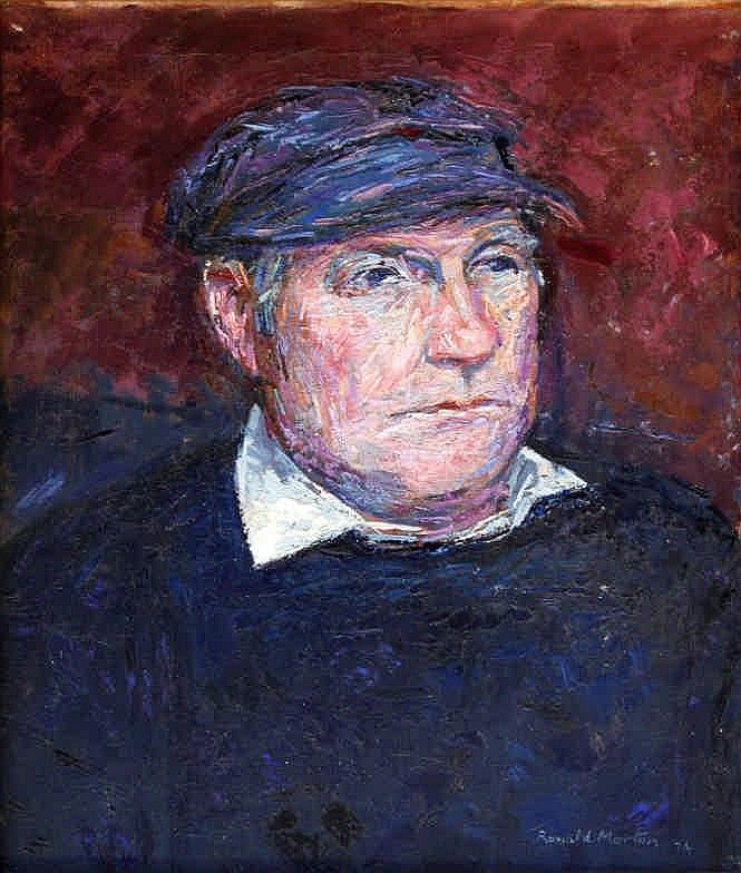 Ronald Morton (British b.1918) - 'Self Portrait' Oil on canvas, signed and