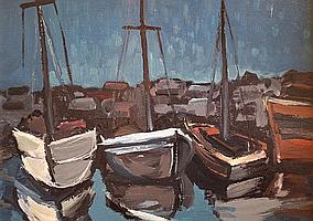 Charles Messent (1911-1971)-'Boats in a harbour',
