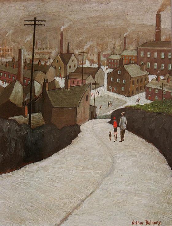 Arthur Delaney (1927-1987)-'The Road into Town