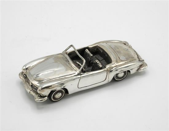 A miniature sterling silver mercedes benz 190sl sports car c for Mercedes benz sterling