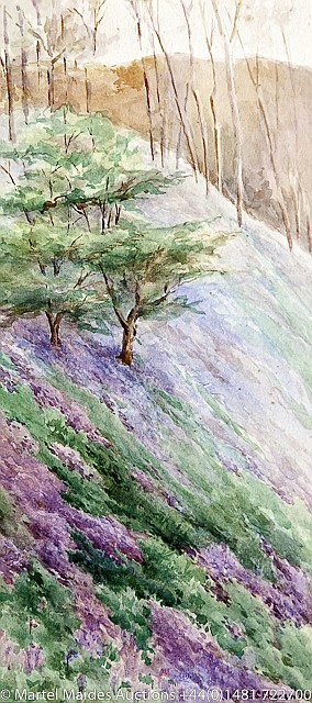 Ethel Sophia Cheeswright (British 1874-1977) A wooded valley; Craggy coastal scene