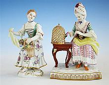 Two Meissen figures 20th century, one from the set of four emblematic of 'The Senses',