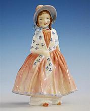 A Royal Doulton figurine 'Lily', HN1798, charming figure of a young girl with pink bonnet and dress covered with a floral shawl,