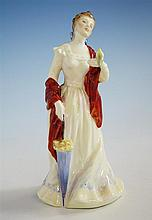 A Royal Doulton figurine 'Esmeralda', HN2168, a young lady in elegant dress with draped shawl falling off her shoulder,