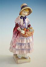 A Royal Doulton figurine 'Greta', 1930s. by Leslie Harradine, delightful figurine of young girl in three tier dress, ribboned bonnet,