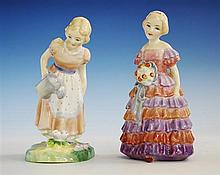 Two Royal Doulton figurines both by Leslie Harradine, comprising 'Mary Mary', HN2044, the girl in peach dress with blue spotted apron