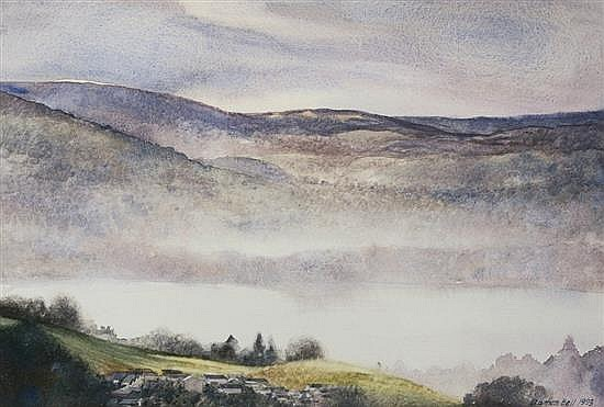 Damon Bell (British, 20th century) 'Mist Over Windermere'watercolour, signed and dated 1993 lower right,
