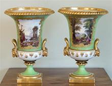 A pair of Derby style porcelain campana urns probably Samson of Paris, late 19th century, in the manner of W. Duesbury,