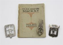 A Scottish silver Mackay Clan brooch inscribed ''Manu Forti'' to the front; plus another similar,