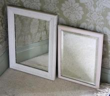 Two mirrors with painted wooden frames