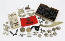 Of military interest inc. 7th Gurkha Rifles assorted badges and pins,