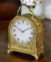 A fine and rare early Victorian engraved gilt brass hump-back carriage clock by James Murray of London with single fusee movement wi...