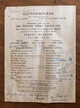 A programme for ''Albert Herring'' at Glyndebourne signed by Benjamin Britten signed in ink, dated June 25th 1947,