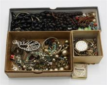 A mixed lot of silver and costume jewellery, early to mid-20th century
