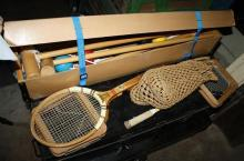 A cased croquet set together with a wooden boulle set and vintage tennis and squash rackets.