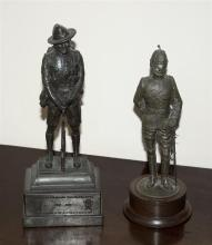 Two cold cast bronze military figures by Peter Hicks one of a Gurkha, the other an ASC officer, on wooden plinths,