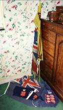 Three large vintage flags