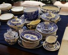 A collection of transfer printed dinner ware late 19th / early 20th century, to include cups, tureens, platters, plates etc.