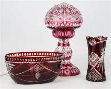 Ruby flashed cut-glass lamp,