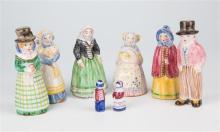 A set of six figures by L. Hjorth Danish Delft style characters in traditional costumes, impressed marks to undersides,