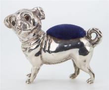 An Edwardian novelty silver pug dog pin cushion Crisford & Norris Ltd., Birmingham 1905,