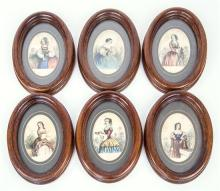 Fifteen 19th century fashion prints hand coloured with laquer overlay, in oval wood frames,