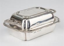 An Aspreys novelty pin tray Birmingham 1935, of miniature entrée dish form with gadrooned decoration throughout,