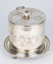 A 19th century silver plated biscuit barrel with ivory finial, swag engraved design to body.