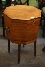 A Regency cross banded mahogany wine cooler octagonal form,