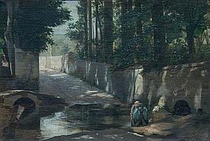 León Jean Pétua (French 1846-1921) Washing in the dappled shade