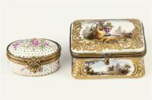 A Meissen style porcelain patch box 19th century, rectangular form with waisted sides,