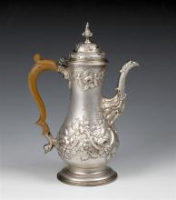An early George III silver baluster coffee pot Thomas Whipham & Charles Wright, London 1762,