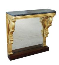 An early 19th century parcel gilt and marble console table the grey veined marble top on parcel gilt stand with moulded frieze on sc...