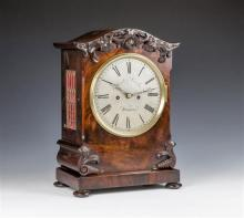 A William IV mahogany cased double fusee bracket clock eight day double fusee movement,