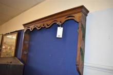 An 18th century and later oak wall hanging walking sporting gun or cane rack probably converted,