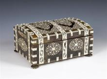 An Anglo-Indian Vizagapatam horn and ivory penwork work box Vizagapatam, 19th century, domed casket form,