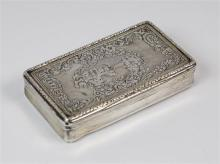 A French silver snuff box 19th century, of rectangular form with incurved sides,