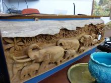 An Indian carved wooden elephant plaque second half 20th century,