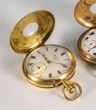 An 18ct gold cased side wind half hunter pocket watch by J. W. Benson of London hallmarked London 1912,